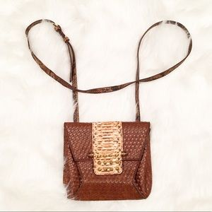 Rachel Rachel Roy brown black faux snakeskin bag